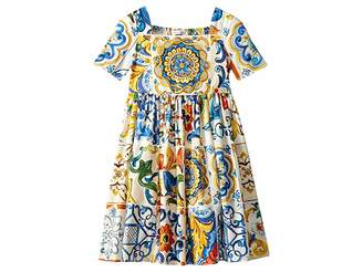 Dolce & Gabbana Poplin Maioliche Short Sleeve Dress (Toddler/Little Kids)