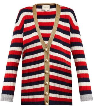 Gucci Striped V Neck Wool And Cashmere Blend Cardigan - Womens - Blue Multi