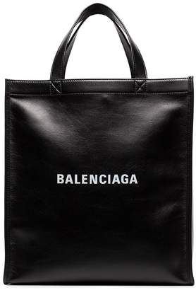 Balenciaga black large leather tote bag