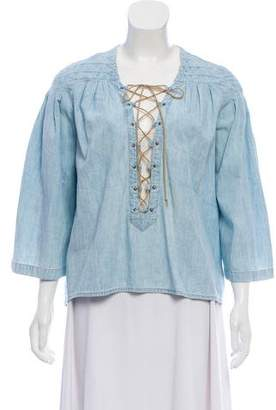 Atelier Jean Lace-Up Denim Top w/ Tags