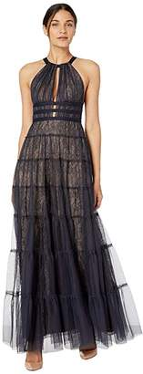 BCBGMAXAZRIA Halter Lace with Tulle Overlay Gown