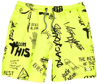 River Island Boys yellow graffiti print swim shorts