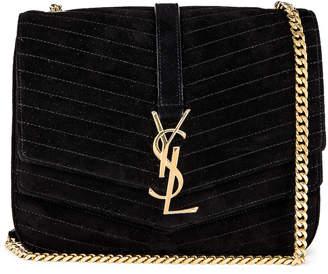 Saint Laurent Medium Sulpice Chain Suede Quilted Bag in Black | FWRD