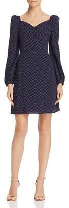 En Creme Puff-Sleeve Polka Dot Dress