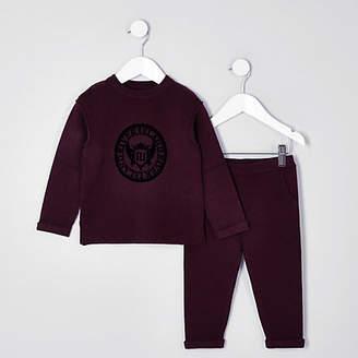 River Island Mini boys burgundy knit RI sweat set