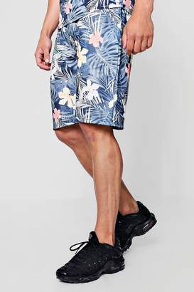 boohoo Floral Palm Print Mid Co-Ord Jersey Shorts