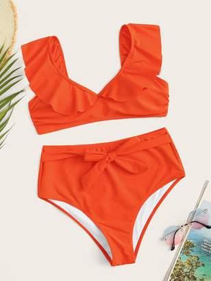 Shein Ruffle Top With Knot Front High Waist Bikini Set