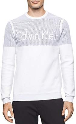 Calvin Klein Men's Nylon Plaited Color Block Crew Neck Sweater