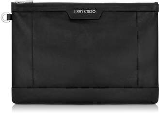 Jimmy Choo DEREK Black Biker Leather Document Holder