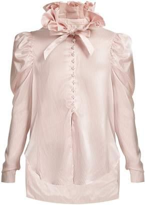 HILLIER BARTLEY Pinstripe exaggerated ruffle-collar silk shirt
