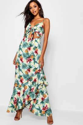 boohoo Knot Front Palm Print Maxi Dress