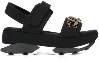 Marni embellished wedge sandals