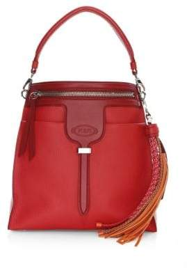 Tod's Two-Tone Tassel Leather Top Handle Bag