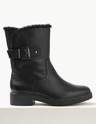 M&S Collection Leather Wide Fit Faux Fur Cuff Ankle Boots