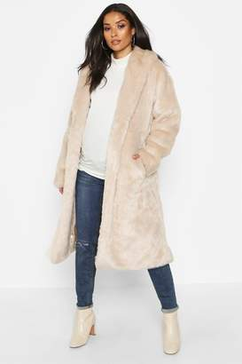 boohoo Maternity Faux Fur Wrap Belted Coat