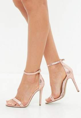 Missguided Pink Metallic Snake Print Barely There Heeled Sandals