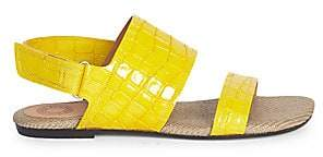 Dries Van Noten Women's Leather Crocodile Print Double-Strap Flat Sandals