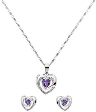 812855b04 Revere Silver Amethyst Colour CZ Pendant & Earring Set
