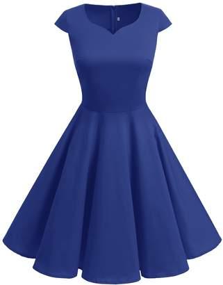 Dresstells reg; Retro 50s Solid Color Cocktail Cap-Sleeves Swing Dresses