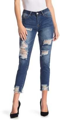 YMI Jeanswear Jeans Dream Mid-Rise Hem Destruction Denim Jeans