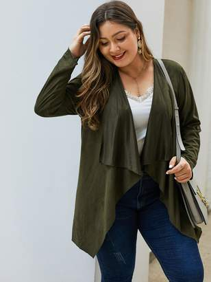 Shein Plus Solid Open Front Waterfall Coat
