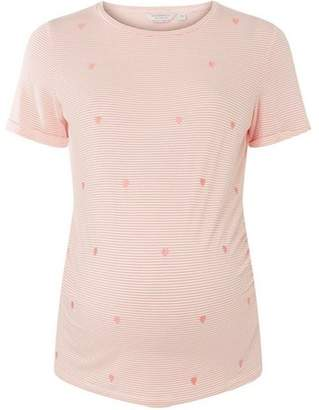Dorothy Perkins Womens **Maternity Pink And Ivory Striped T-Shirt