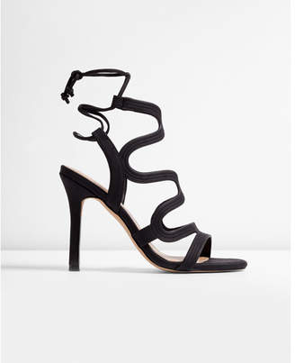 Express metallic swirl caged heeled sandals