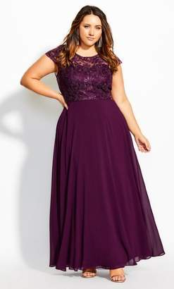 City Chic Magnetic Maxi Dress - mulberry