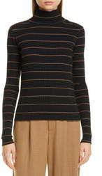 Vince Stripe Rib Stretch Cotton Turtleneck Sweater