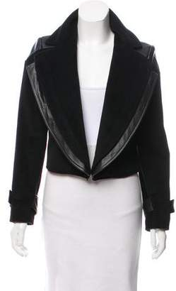 Christian Siriano Leather-Accented Peak-Lapel Jacket