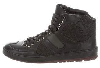 Christian Dior Leather-Trimmed High-Top Sneakers