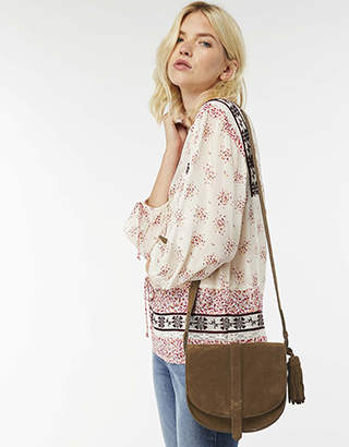 Monsoon Stella Suede Saddle Cross Body Bag