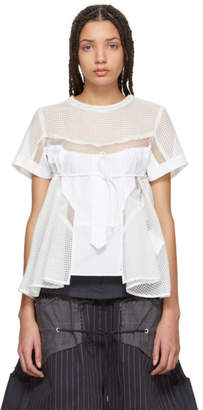 Sacai White Mesh Shirting Blouse