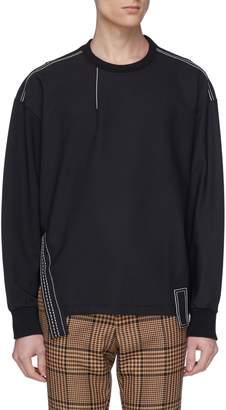 Wooyoungmi Contrast topstitching side split sweatshirt