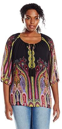 Single Dress Women's Plus Size 3/4 Sleeved Peasant Blouse $55.71 thestylecure.com