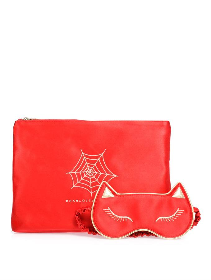Charlotte Olympia Sweet dreams kitty slippers and eye mask set
