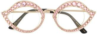Gucci Pink Crystal Cat Eye Glasses