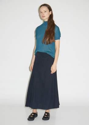 Y's Diagonal Panel Flared Linen Skirt