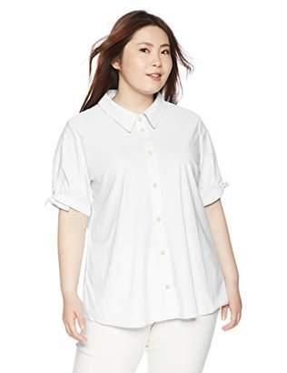[セシール] カットソーシャツ(半袖)(UVカット・抗菌防臭・吸汗速乾)■グラマー用サイズ有(胸のサイズで選べる)■ MW-2849 レディース ホワイト 日本 L (日本サイズL相当)