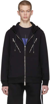 Neil Barrett Black Multi-Zip Hoodie