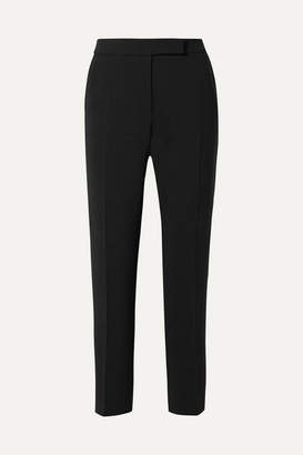 Max Mara Cropped Stretch-wool Straight-leg Pants - Black