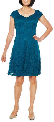 Liz Claiborne Cap Sleeve Lace Fit & Flare Dress