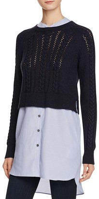 FRENCH CONNECTION Crochet Cable Knits Layered-Look Sweater $158 thestylecure.com