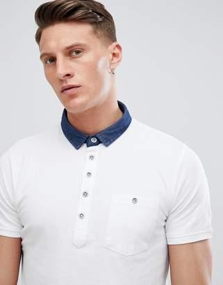 Brave Soul Contrast Denim Collar Polo