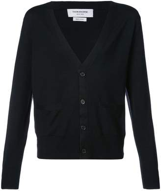 Thom Browne V-Neck Cardigan In Black Mercerized Merino