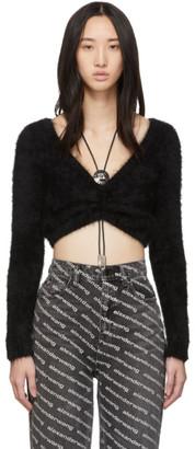 Alexander Wang Black Cropped Bolo V-Neck Sweater