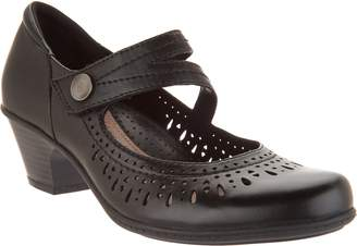 Earth Perforated Leather Heeled Mary Janes - Dione