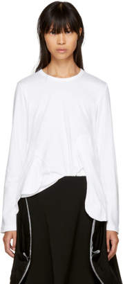 Comme des Garcons White Long Sleeve Cut-Away T-Shirt