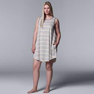 Vera Wang Plus Size Simply Vera Striped Chemise