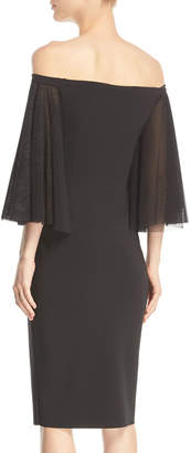 Chiara Boni Off-the-Shoulder Full-Sleeve Sheath Dress
